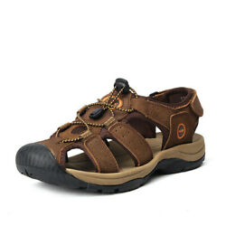 NEW Men Hiking Genuine Leather Sandals Closed Toe Fisherman Beach Shoes Big Size