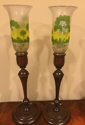 Pairpoint Ambero Antique Lamps w Scenic Hurricane Shades amp; Walnut Bases 23quot; $1590.00