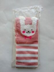 Novelty Socks Women Pink Rabbit Bunny Pink Striped Crew $3.00