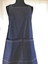 ELLE Denim Dress Maxi Large Pockets Casual Sleeveless Loose Fit Size Small $18.00