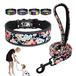 2in Wide Dog Collar Leash Colorful Flower Reflective for Boxer Rottweiler S M L