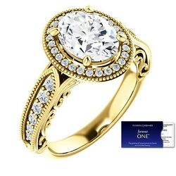 2.60 Carat Oval ForeverOne Moissanite and Diamond Ring 14K Gold Charles