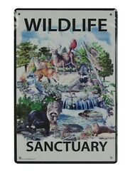 Wildlife Sanctuary tin metal sign home decor wall accessories $15.75