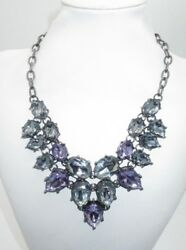 Statement Necklace Purple Sky Blue Crystal Jeweled Thick Gunmetal Sparkling CHIC