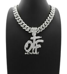Hip Hop Only The Family OTF amp; 18quot; Full Iced Cuban Link Choker Chain Necklace $14.24
