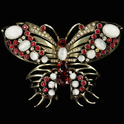Eisenberg Sterling Gold Ruby and Moonstone Butterfly Pin