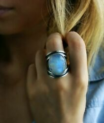 Oval Blue Fire Opal Women 925 Silver Ring Wedding Banquet Evening Party Jewelry