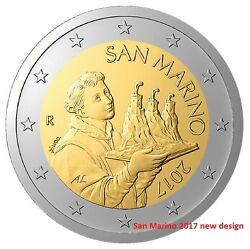 IN STOCK - SAN MARINO 2 Euro 2017 national side coin - New design