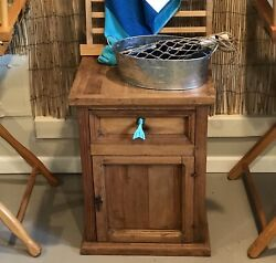 Weathered Pine  Nightstand CabinetEnd Table Wooden Rustic Handmade PICK UP ONLY