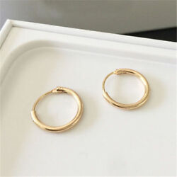 Fashion Silver Gold Small Endless Hoop Ear Earrings Circle Round Jewelry 12mm