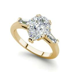 Baguette Accents 3.25 Ct VS1H Pear Cut Diamond Engagement Ring Yellow Gold