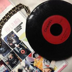 Chanel Record Round Chain Shoulder Bag Black Red 2004 Limited Rare