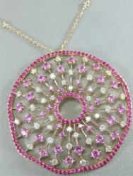 MODERN DIAMOND RUBY PINK SAPPHIRE 14K ROSE GOLD ROUND CLUSTER NECKLACE N600002RP