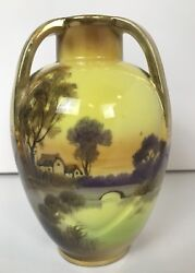Mancave Nippon Vase Yellow Country Scene 1920's Or Older She shed