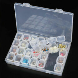 Clear Plastic 28 Slots Beads Box Jewelry Storage Case Organizer Tools Adjustable