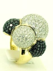 White And Black Diamond Bubble Ring 18k Gold 7.09 Carat Cocktail Christmas Gift