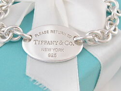 Tiffany & Co Return To Tiffany Oval Bracelet Packaging Box Pouch Ribbon $375