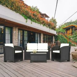 5PC Outdoor Patio Sectional Furniture PE Wicker Rattan Sofa Set Deck Couch