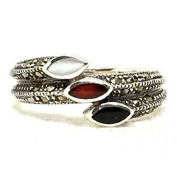 (SIZE 678) MOTHER-of-PEARL CARNELIAN ONYX RING Marcasite .925 STERLING SILVER