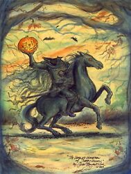 THE HEADLESS HORSEMAN OF SLEEPY HOLLOW Halloween Print Signed  JOHN RANDALL YORK