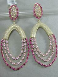 LARGE 9.29CTW PAVE DIAMOND PINK SAPPHIRE 14KT Y GOLD OVAL CHAINS EARRINGS 100615