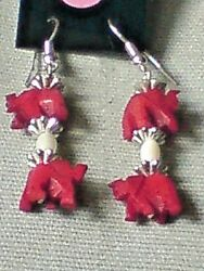 PRETTY DROP EARRINGS WITH RED HORN ELEPHANTS & SMALL FRESHWATER PEARLS £3.99 NWT