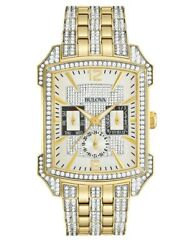 Bulova Men's Quartz Swarovski Crystals Pave Dial Two Tone 35mm Watch 98C109
