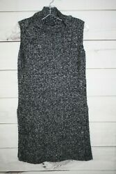 ROBERT KITCHEN CANADA Long Sweater Tunic Mohair blend black gray SIZE XS XSMALL $9.95