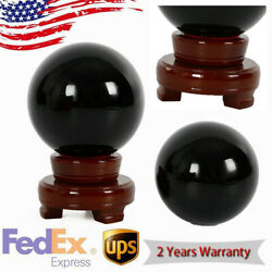 100mm Asian Natural Black Obsidian Sphere Large Crystal Ball Healing Stone+Stand