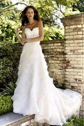 Watters Sabrina Skirt Wedding Dress Ivory Silk Organza Size 2 - NEW WITH TAGS