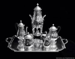 ART DECO FRENCH SILVER-PLATED 6pc. TEA  COFFEE SET + TRAY AND WRAPS - 1925 !!