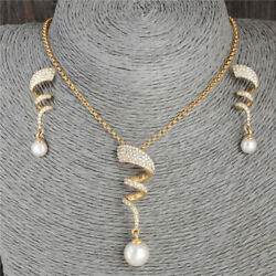 Woman Pearl Gold Plated Jewelry Set Necklace Pendant Drop Dangle Earrrings Gifts