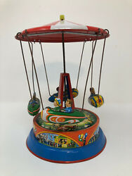 Vintage Tin Litho Sky Flying Rocket Ride Carousel Carnival Western Germany $76.95
