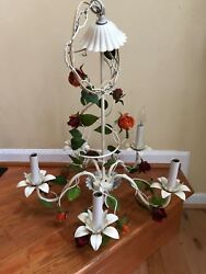 Vintage Chandelier French Country Italian Tole Floral Roses Hanging Five Light $199.99