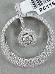 MODERN 1.39CTW PAVE DIAMOND 18K GOLD ROUND HANGING CIRCLE HALO PENDANT #PC11598W