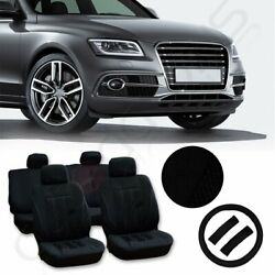 Qty(13) New Universal Mesh Polyester Black Car Seat Cover WSteering Wheel Cover