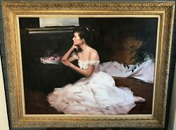 An He (Chinese 1957-  ) BALLERINA PANSE LA LOGE 1994 Oil on Canvas 30