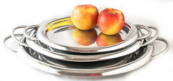 Serving Trays Stainless Steel With Handles India 3 Sizes Lightly Used