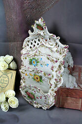 French vintage Majolica Biscuit Craquele Wall Antique Letter holder Flowers $105.00