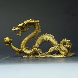 Chinese Lucky Feng Shui Dragon Brass Hand-carved Statue
