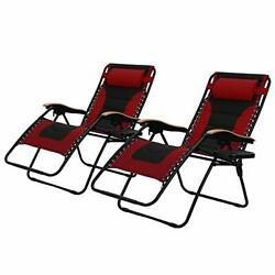 PHI VILLA Oversize XL Padded Zero Gravity Lounge Chairs Adjustable (Red)