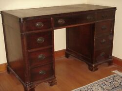 1940's Vintage MAHAGONY PEDESTAL DESK with Inlaid Leather Top