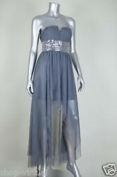 ROBERTA New Gray Sequined Strapless Hi-Low Maxi Dress MSRP $109 Juniors Size 34