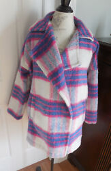 NWT PURPLE PINK WHITE PLAID SHE & SKY INDIAN BLANKET WRAP AROUND STYLE JACKET
