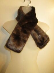Wrap Scarf Collar Faux Fur Brown Chocolate Winter Warm Chic Party Outdoor Bin8 $13.12
