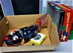 1 Space Patrol TIN WHALE Mechanic NIB Wind Up Toy WalksMouth OpensSparks Whale $120.00