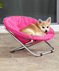 Foldable Indoor Outdoor Pet Bed Lounge Chair Dog or Cat Pink Blue Gray Black