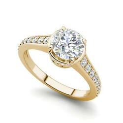 Pave 3.3 Carat VS1H Round Cut Diamond Engagement Ring Yellow Gold