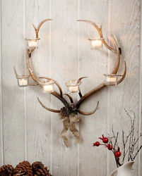 Wall Sconce Candle Holder Rustic Home Cabin Decor Metal Antler Tea Light