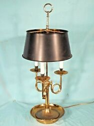 MID CENTURY 3 ARM BOUILLOTTE DOUBLE SOCKET BRASS LAMP WITH SOLID BRASS SHADE $250.00